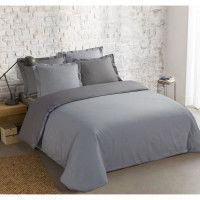 VISION Parure de couette bicolore 100% coton - 1 housse de couette 220 x 240 cm + 2 taies doreiller 65 x 65 cm - Gris et gris pe