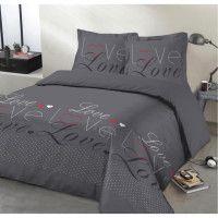VISION Parure de couette Love - 100% coton - 1 housse de couette 200 x 200 cm + 2 taies doreiller 65 x 65 cm - Gris