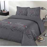 VISION Parure de couette Love - 100% coton - 1 housse de couette 240 x 260 cm + 2 taies doreiller 65 x 65 cm - Gris anthracite