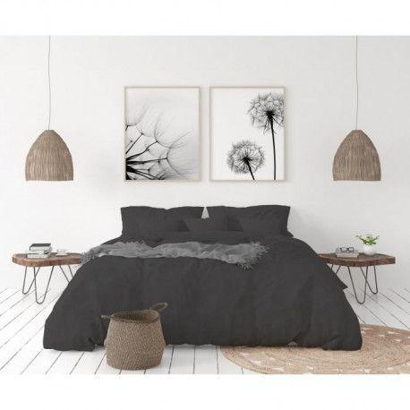 LOVELY HOME Parure de couette en 100% lin 240x260cm + 2 taies 65x65cm - Coloris Gris anthracite