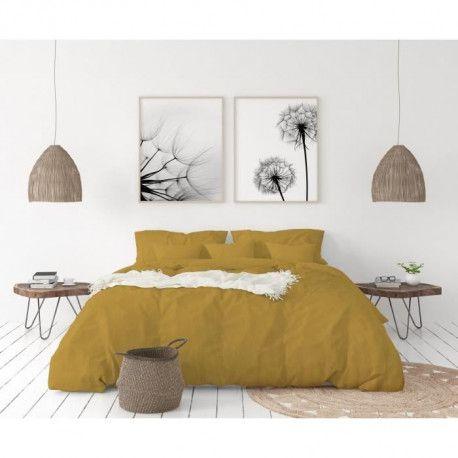 LOVELY HOME Parure de couette en 100% lin 220x240cm + 2 taies 65x65cm - Coloris Jaune curry
