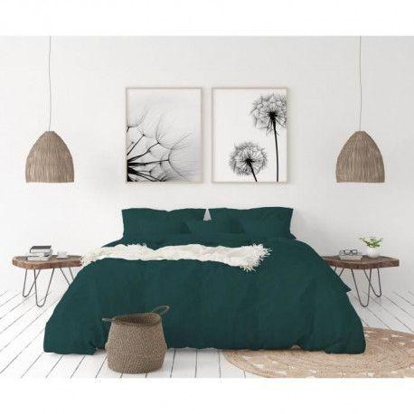 LOVELY HOME Parure de couette en 100% lin 240x260cm + 2 taies 65x65cm - Coloris vert sapin