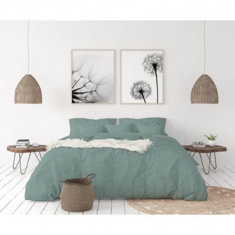 LOVELY HOME Parure de couette en 100% lin 220x240cm + 2 taies 65x65cm - Coloris Bleu celadon