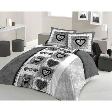 LOVELY HOME Parure de couette Coton SWEET HEART Anthracite 240x260cm