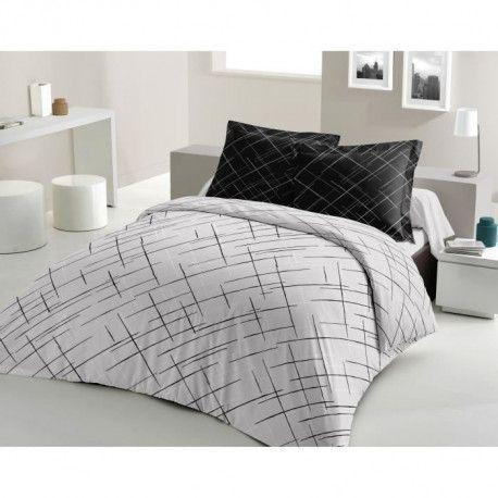 LOVELY HOME Parure de couette Coton CRISSCROSS - Noir - 200x200 cm
