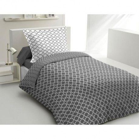 LOVELY HOME Parure de couette Coton ELLY - Anthracite - 140x200 cm