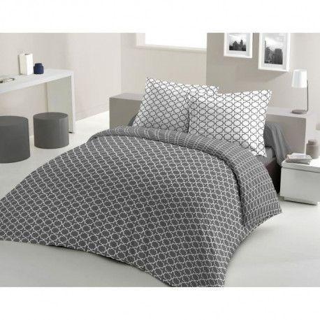 LOVELY HOME Parure de couette Coton ELLY - Anthracite - 240x260 cm