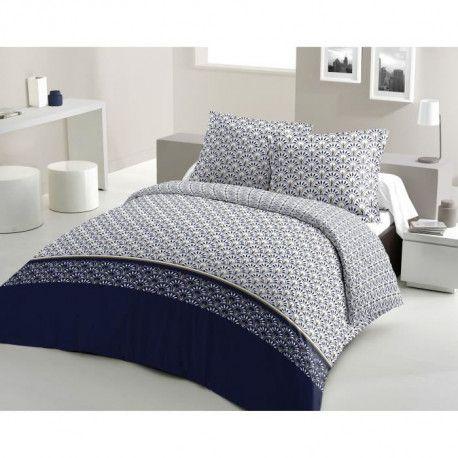 LOVELY HOME Parure de couette Coton RAINBOW - Bleu marine - 200x200 cm