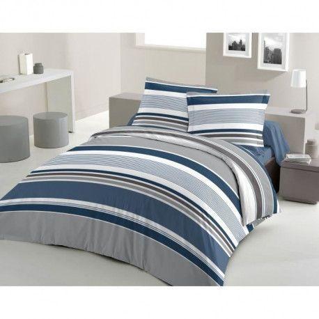 LOVELY HOME Parure de couette Coton STRIPES - Bleu - 240x260 cm