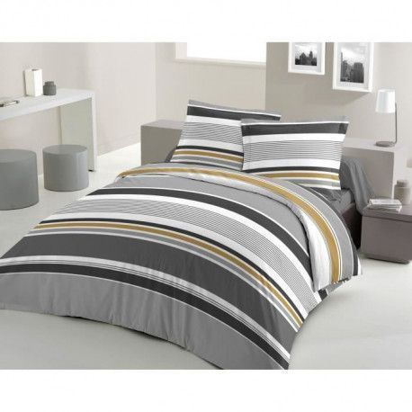 LOVELY HOME Parure de couette Coton STRIPES - Gris - 200x200 cm
