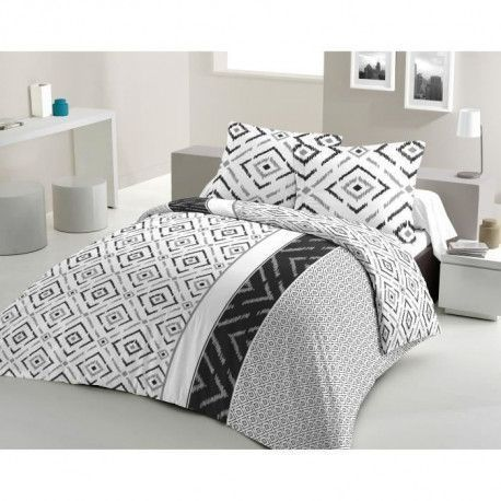 LOVELY HOME Parure de couette Coton ETHNO - Gris - 220x240 cm