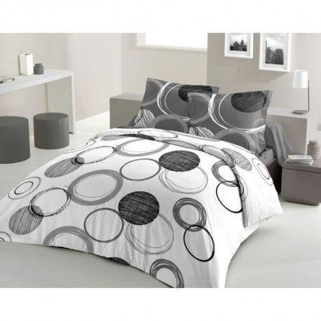 LOVELY HOME Parure de couette Coton AUDACE - Anthracite - 220x240 cm