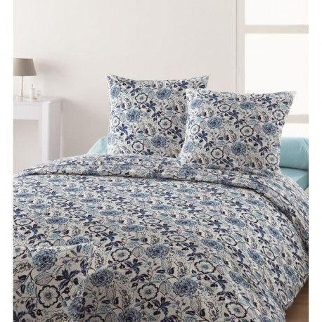 SANTENS Parure de Couette 100% coton KENZIA - 1 Housse de couette 240x260 cm + 2 taies 63x63 cm - Bleu