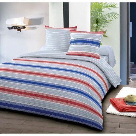 SANTENS Parure de Couette reversible 100% coton MALO - 1 Housse de couette 240x260 cm + 2 taies 63x63 cm - Bleu et rouge