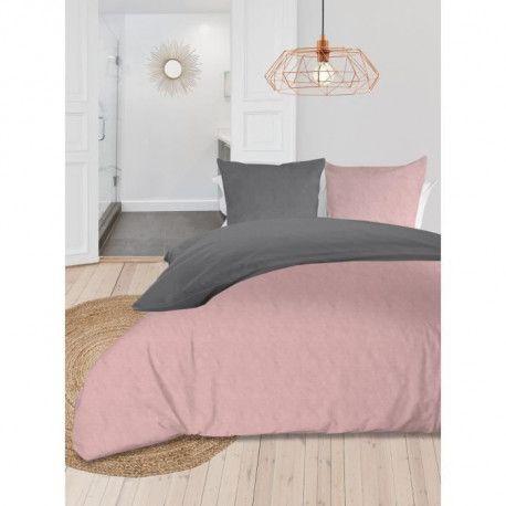 SOLEIL dOCRE Parure de couette bicolore - Coton lave - 220 x 240 cm - Rose et gris