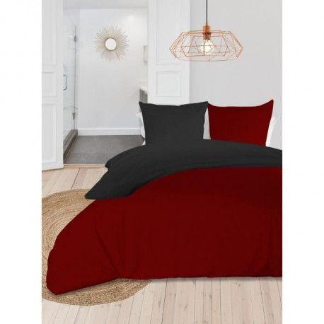SOLEIL dOCRE Parure de couette bicolore - Coton lave - 220 x 240 cm - Rouge et gris anthracite