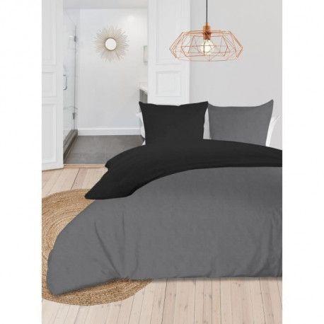 SOLEIL dOCRE Parure de couette bicolore - Coton lave - 240 x 260 cm - Gris et gris anthracite