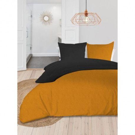 SOLEIL dOCRE Parure de couette bicolore - Coton lave - 240 x 260 cm - Jaune moutarde et gris anthracite