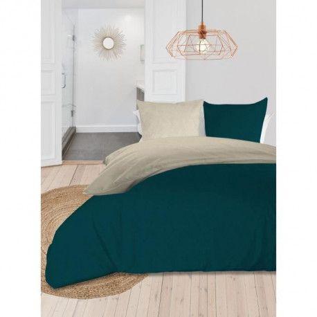 SOLEIL dOCRE Parure de couette bicolore - Coton lave - 240 x 260 cm - Bleu canard et ecru