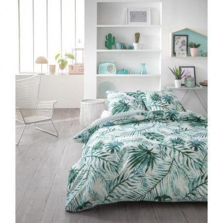 TODAY Parure de couette Sunshine 1.39 - 100% Coton - 220 x 240 cm - Vert et blanc