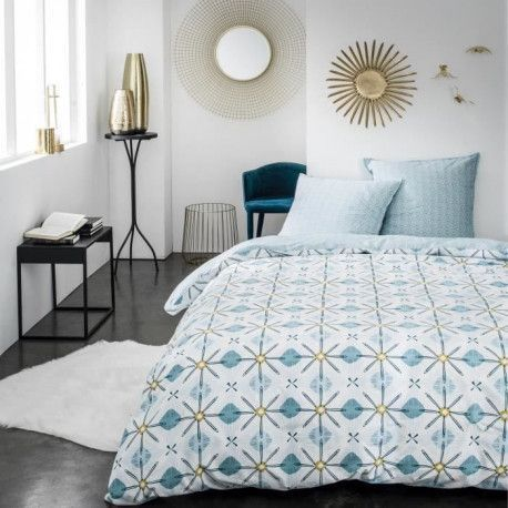 TODAY Parure de couette Sunshine 2.60 - 100% Coton - 220 x 240 cm - Bleu et blanc
