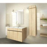 LUNA Ensemble salle de bain simple vasque L 80 cm - Decor oak sonoma
