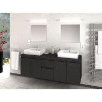 CINA Ensemble salle de bain double vasque L 150 cm - Gris laque mat