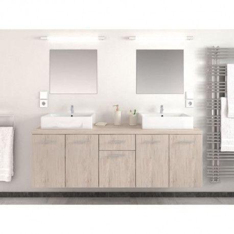 OLGA Salle de bain complete double vasque L 150 cm - Decor chene san remo