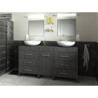 ERA Ensemble salle de bain double vasque L 150 cm - Decor bois Teck marine