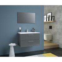 GLOSSY Meuble de Salle de bain simple vasque L 80cm - Gris fonce laque brillant