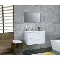 GLOSSY Meuble de Salle de bain simple vasque L 80cm - Blanc laque brillant
