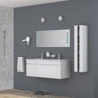ALBAN Ensemble salle de bain double vasque avec miroir L 120 cm - Blanc laque brillant