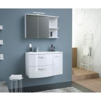 ONDE Meuble de Salle de bain simple vasque L 90cm - Blanc brillant