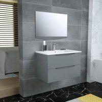 SMILE Salle de bain simple vasque + miroir L 80 cm - 2 tiroirs a fermeture ralenties - Anthracite