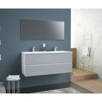 TOTEM Salle de bain 120cm - Gris - 4 tiroirs fermetures ralenties - double vasque en ceramique + miroir