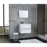 TOTEM Salle de bain 60cm - 2 tiroirs fermetures ralenties - simple vasque en ceramique + miroir