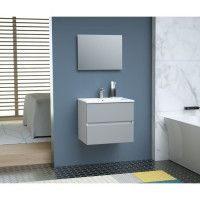 TOTEM Salle de bain 60cm - Gris - 2 tiroirs fermetures ralenties - simple vasque en ceramique + miroir