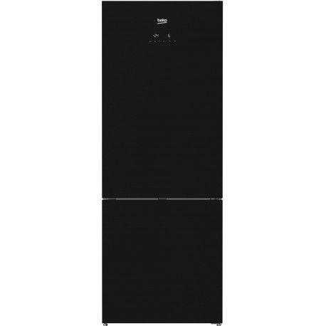 Beko RCNE520E20ZGB Réfrigérateur avec congélateur en bas avec double zones de température - 70 cm - Brillant noir
