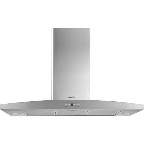 SAUTER SHR4922X Hotte décorative 572 m3/h - 67 dB - Evacuation ou recyclage - Inox - 90 cm
