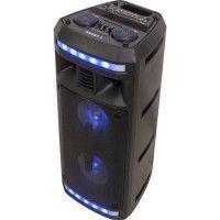 BOOST 10-7138BO Enceinte active autonome a LED - Bluetooth, USB, micro-SD, Tuner FM - 2 x 6,5 / 16 cm - 280 W - Noir