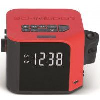 Radio Reveil SCHNEIDER SC360ACL - Projection de l'heure - USB Charge - Rouge