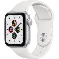 Apple Watch SE GPS, 40mm Boitier en Aluminium Argent avec Bracelet Sport Blanc