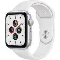 Apple Watch SE GPS, 44mm Boitier en Aluminium Argent avec Bracelet Sport Blanc