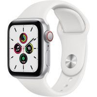 Apple Watch SE GPS + Cellular, 40mm Boitier en Aluminium Argent avec Bracelet Sport Blanc