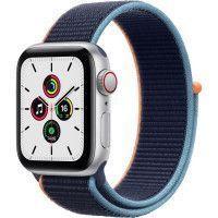 Apple Watch SE GPS + Cellular, 40mm Boitier en Aluminium Argent avec Bracelet Sport Bleu Intense