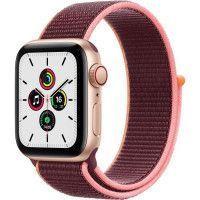 Apple Watch SE GPS + Cellular, 40mm Boitier en Aluminium Or avec Bracelet Sport Prune