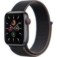 Apple Watch SE GPS + Cellular, 40mm Boitier en Aluminium Gris Sideral avec Bracelet Sport Charbon
