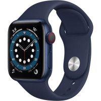 Apple Watch Series 6 GPS + Cellular, 40mm Boitier en Aluminium Bleu avec Bracelet Sport Bleu Intense
