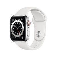 Apple Watch Series 6 GPS + Cellular, 40mm Boitier en Acier Inoxidable Argent avec Bracelet Sport Blanc