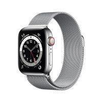 Apple Watch Series 6 GPS + Cellular, 40mm Boitier en Acier Inoxidable Argent avec Bracelet Milanais Gris
